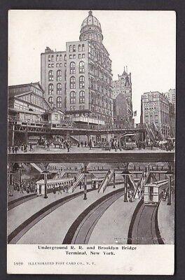 USA NY NEW YORK Underground Rail Road Brooklyn Bridge c1902 u/b PPC