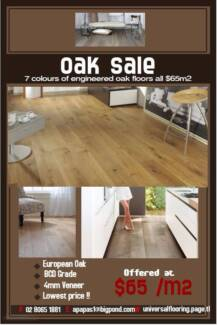 European Oak Engineered Timber Flooring only  $65m2 7 colours