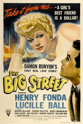 THE BIG STREET Movie POSTER 27x40 B Henry Fonda Lucille Ball Agnes Moorehead