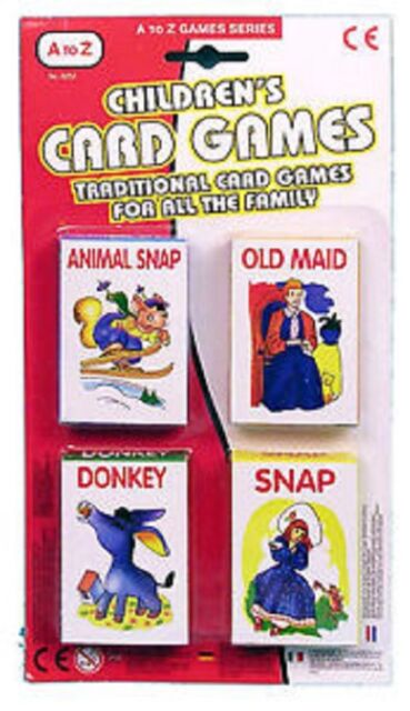 New A To Z Set Of 4 Card Children Toys Games Poker Donkey Animal Snap Old Maid