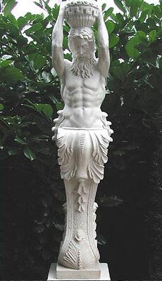 Galionsfigur Statue Kore Figur Gartenfigur Karyatide Atlant Säule 131cm St04-1-a