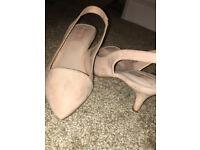 Nude pink heels shoes size 5 primark