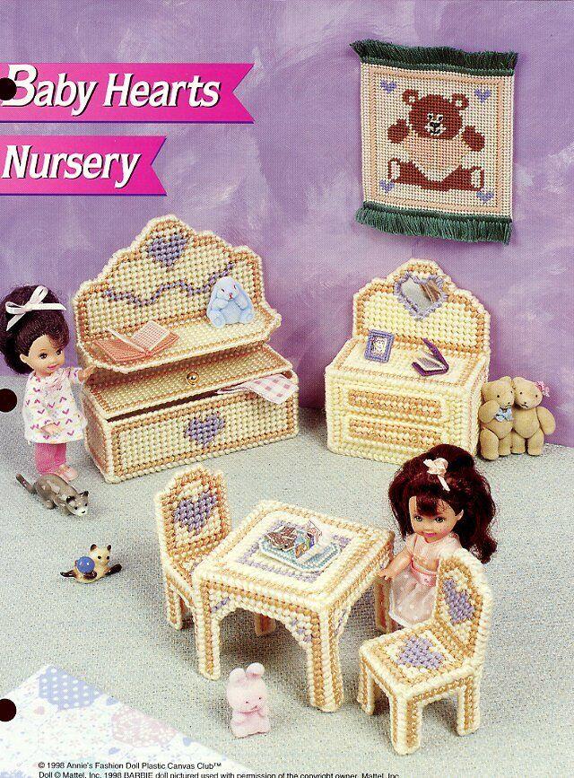 Annie/'s plastic canvas pattern leaflet Wicker Dresser ~ fits Barbie dolls