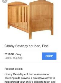 Obaby Beverley cot bed and Mamas and Papas mattress