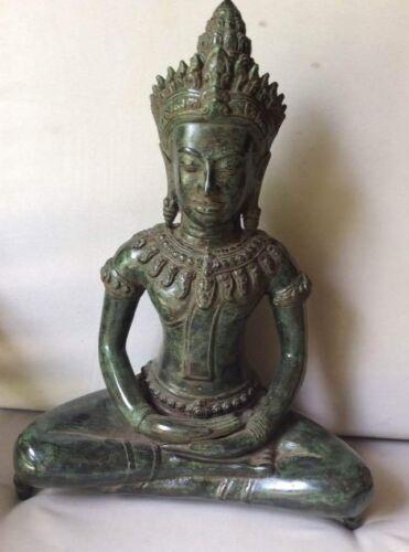 Figure Large Buddha Khmer Angkor Style Bronze 17 5/16in Cambodia