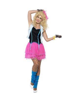 LADIES 80s WILD CHILD COSTUME MADONNA KIM WILDE FANCY DRESS ADULTS 1980 POPSTAR - Wild Child Adult Kostüm