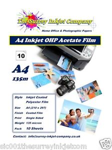 A4 Inkjet Transparency OHP Acetate film 135 micron 10 SHEETS Instant Dry