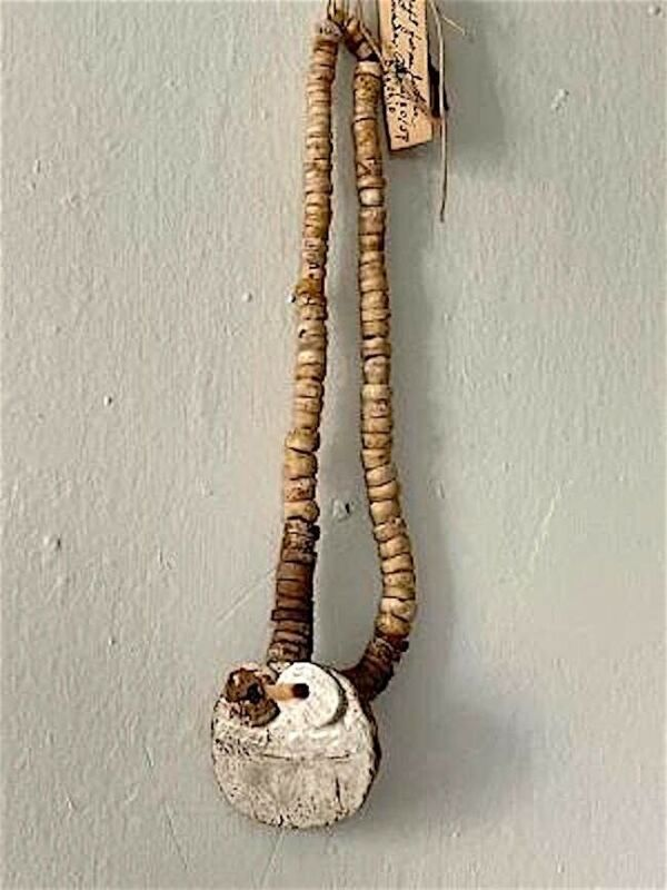 IMPORTANT Ca. 500 BCE GLACIAL KAME SHELL BEAD STRAND WITH MOTHER of PEARL GORGET