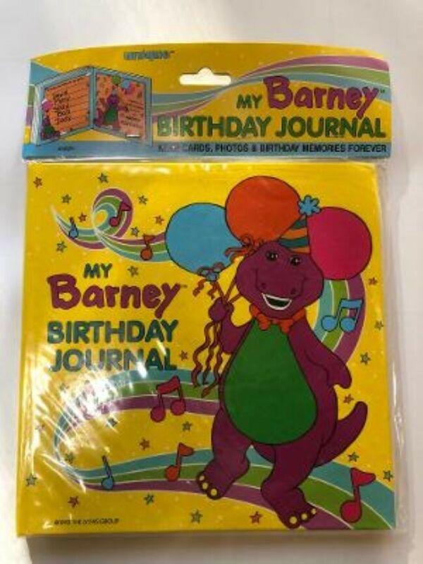 Vintage New 1992 Barney Dinosaur Birthday Journal Lyons Kids Scrapbook Book 90s