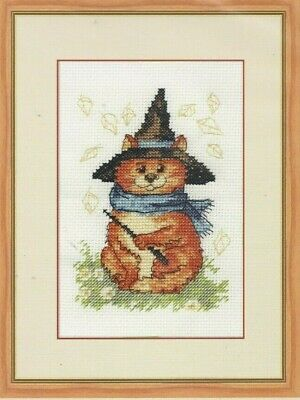 HALLOWEEN KITTEN--Orange Cat Wearing Witch's Hat & Wand-Counted Cross Stitch KIT