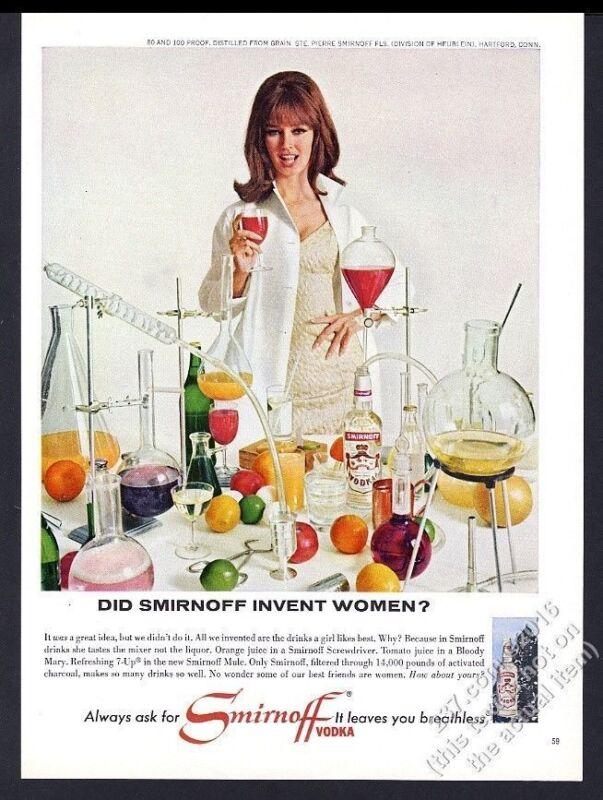 1963 Smirnoff Vodka pretty woman lab equipment flasks photo vintage print ad