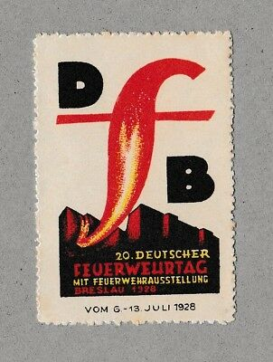 Modernist Poster Stamp GERMAN FIREFIGHTING Expo 1928 Graphic Design BAUHAUS