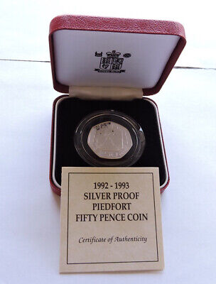 1992 1993 Royal Mint Silver Proof Piedfort 50p EC Presidency Cased With COA