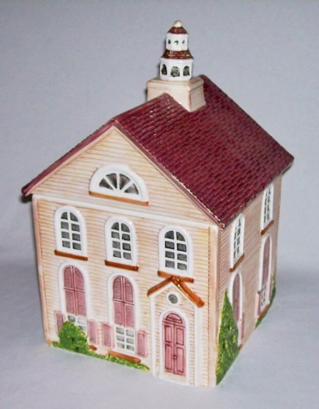 "JOHNSON BROTHERS~ Handpainted Ceramic Friendly Village ""CHURCH"" COOKIE JAR 12.5"""