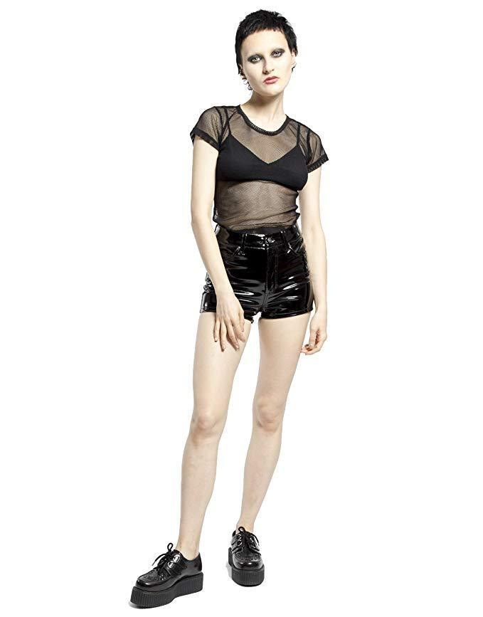 Tripp Gothic Punk Metal Sexy Rock Star Stage Vinyl High Waisted Shorts RJ4654 Clothing, Shoes & Accessories