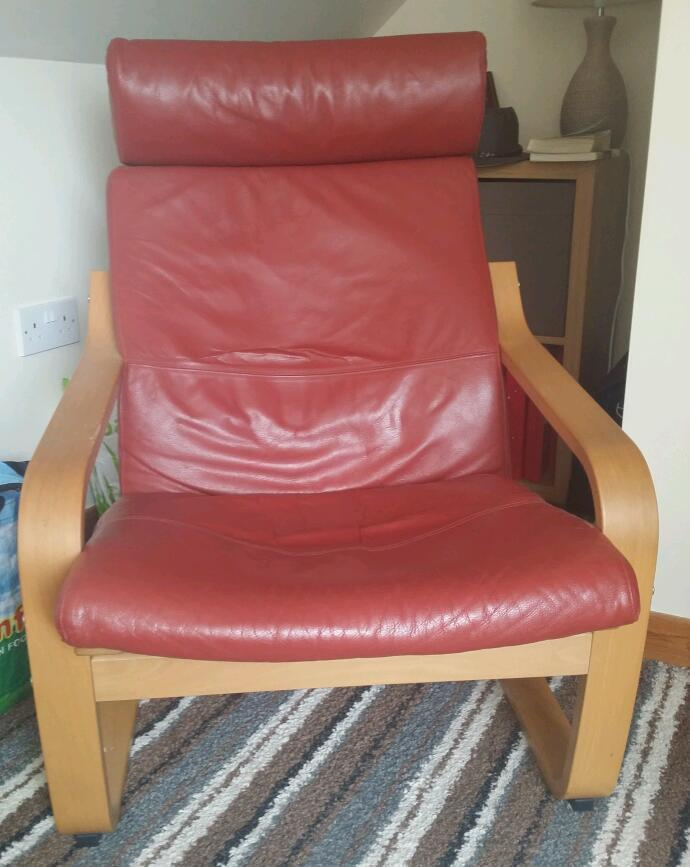 Ikea Poang Red Leather Chair