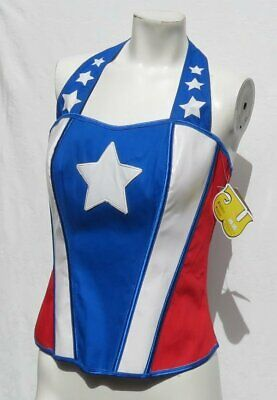 NEW HALLOWEEN COSTUME Women's UNDERGIRL Superwoman America Corset Top sz US L XL