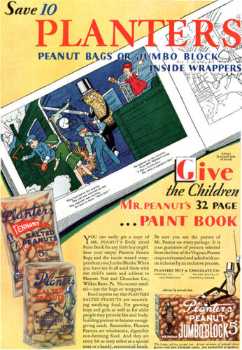 Planters Mr Peanuts COLORING PAINT BOOK OFFER Jumbo Block 1930 Magazine Ad