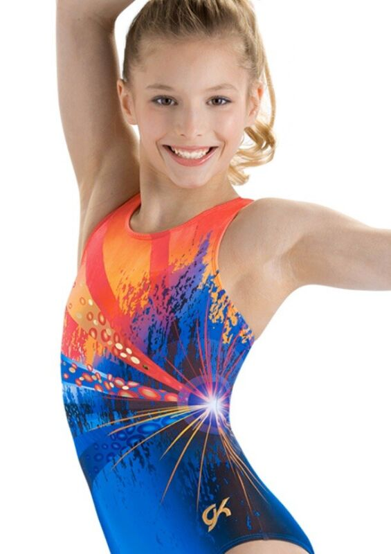 "New GK ELITE Gymnastics Leotard ""PURPLE PASSION"" Neon Green SHIMMER Foil Size CM"