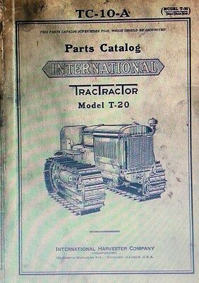 T-20 International Ih Tractractor Crawler Tractor Mccormick Parts Catalog Manual