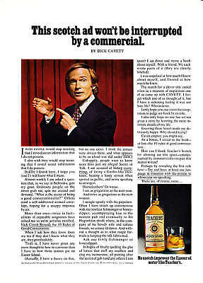 1975 Dick Cavett photo Teacher's Scotch Whisky print ad