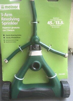 3 Arm Revolving Sprinkler - Melnor 3 Arm Metal Revolving Lawn Sprinkler-45ft Diameter Coverage-Wheeled Base