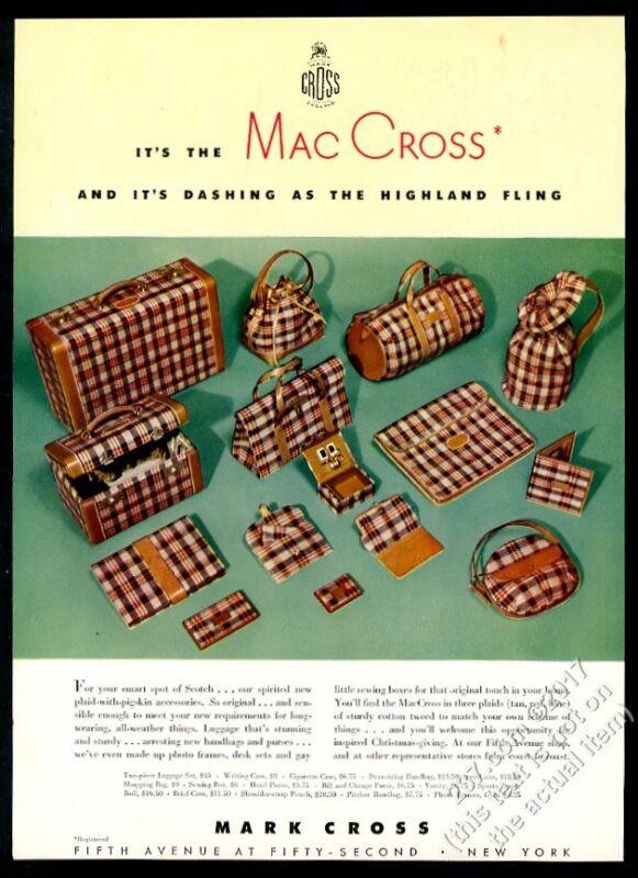 1942 Mark Cross MacCross Scotch plaid luggage suitcase photo vintage print ad