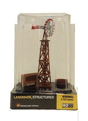 Ho Scale Woodland Scenics Br5043c Windmill Set Built   Ready Landmark Structure