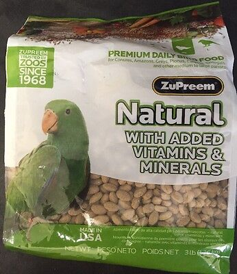 Zupreem natural diet bird food mineral vitamins Medium/Large Avian 3lb