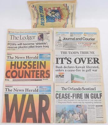 Seven various 1991 newspapers detailing Operation desert Shield, etc
