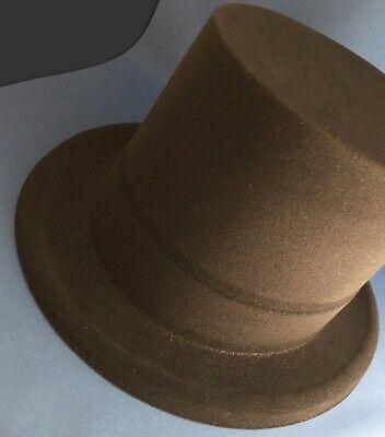 Top Hat black flocked velour tophat costume cosplay theater prop wardrobe NEW! (Flocked Top Hat)