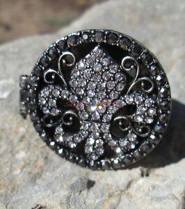 Black crystal fleur de lis locket poison ring silver - Fleur de poison ...