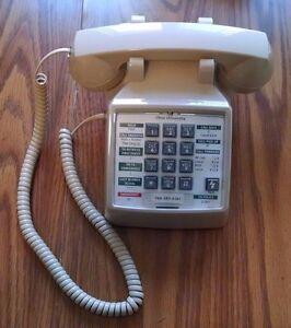Premier Cortelco ITT 2500 Cream Beige Tan Single Line Corded Analog Desk Phone