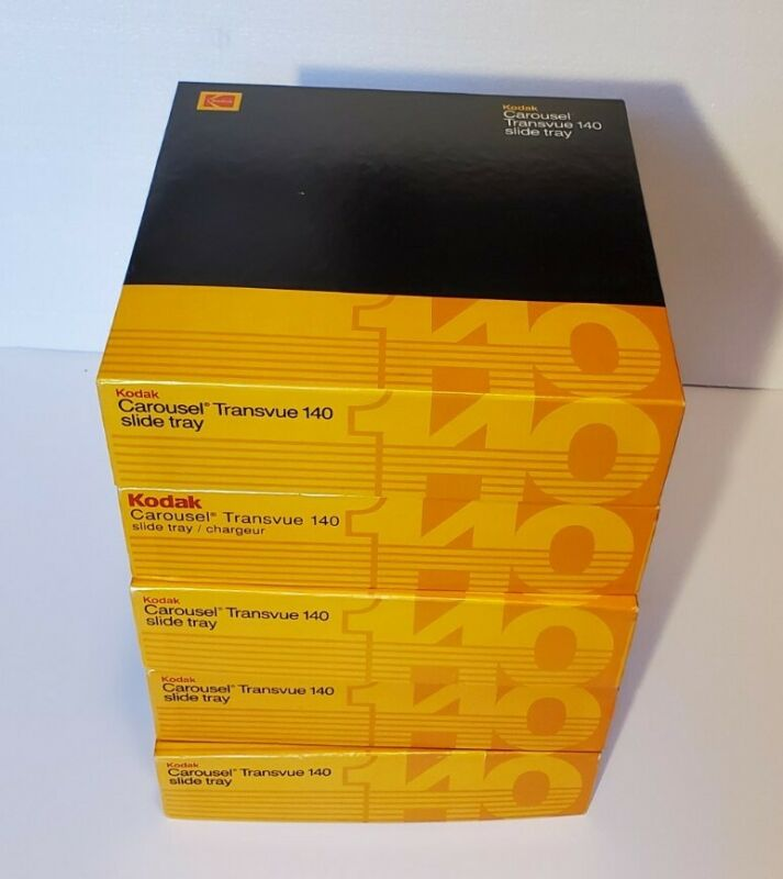 Five (5) Kodak Carousel Transvue 140 slide trays (Tested)