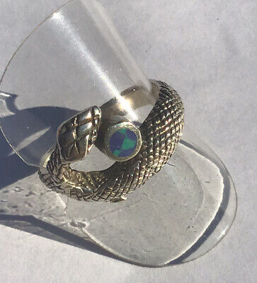Sterling Silver Snake Ring  With Blue & Green Stone Size S