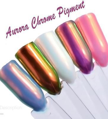 Nail Art UV LED Gel Polish Aurora Mermaid Unicorn Chrome Dust Pigment Powder UK
