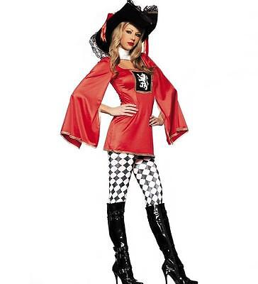 BE WICKED Adult MUSKETEER ROYAL GUARD BLACK & RED HALLOWEEN COSTUME SET S/M NWT