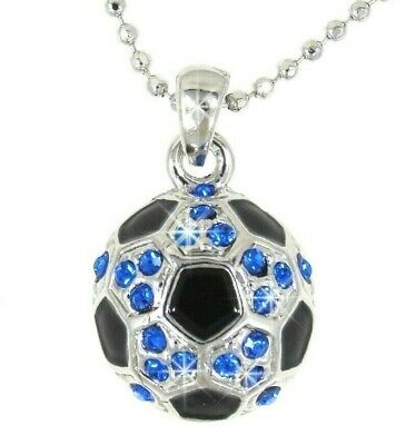 SOCCER BALL SPORT CRYSTAL CHARM PENDANT SILVER CHAIN NECKLACE BLUE NWT