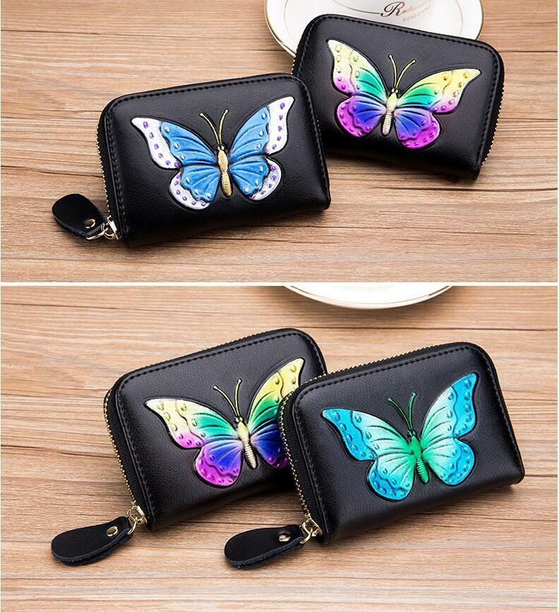 Womens Leather Wallet Butterfly RFID Blocking Credit Card Case Mini Purse US Clothing, Shoes & Accessories