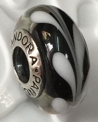 NEW Authentic Pandora 925 silver glass murano bead charm black swire