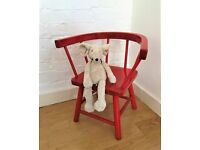 Retro child's chair made of solid wood and handpainted