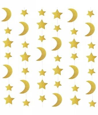 Star Garland Decoration (Glitter Gold Star Crescent Ceiling Hanging Paper Garland Party Decor Outer)
