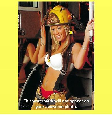 Hot Sexy Firefighting Blonde Girl PHOTO Ladder Badge Helmet Fire Truck