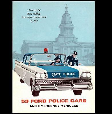 1959 FORD Police Car PHOTO Ad Policeman Cruiser Cops