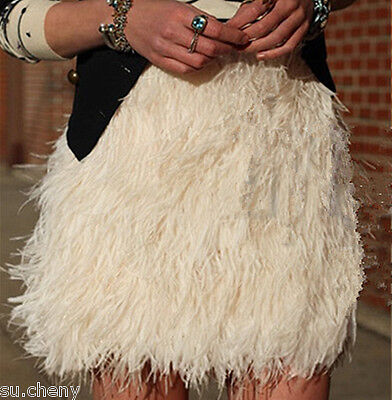 Colors Real Ostrich Feather furry Fur mini skirts hairy chest wrap bra girl - Furry Bras