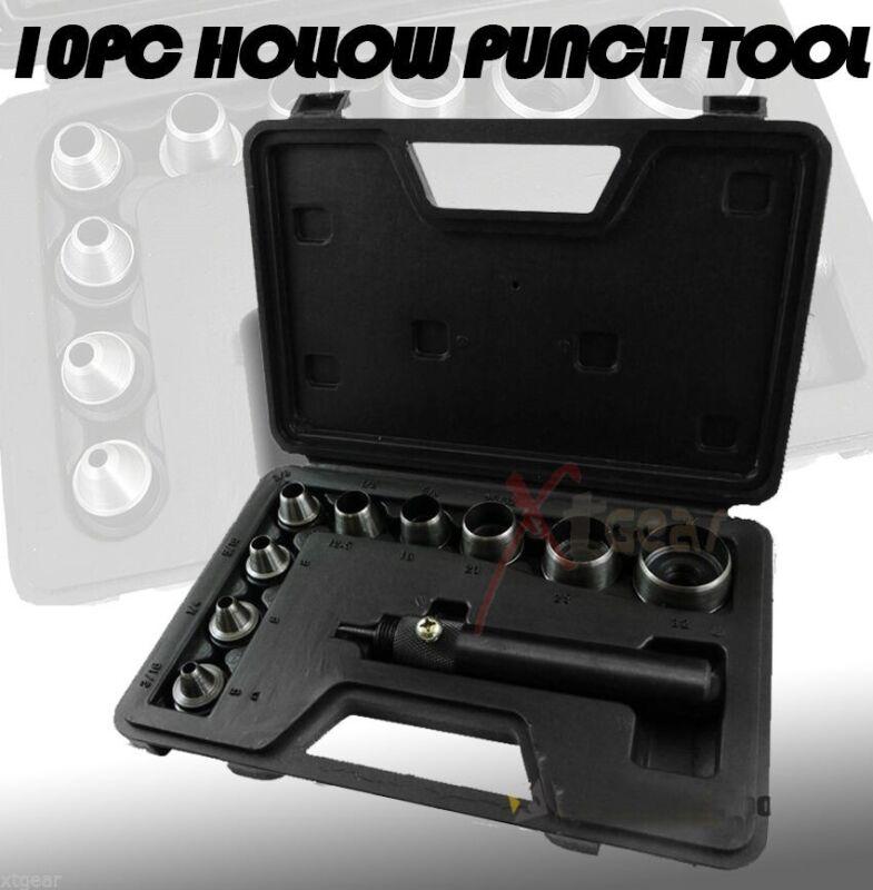 Heavy Duty 10 Pc Hollow Punch Kit W/case Tool Set Gasket Leather Rubber + Case