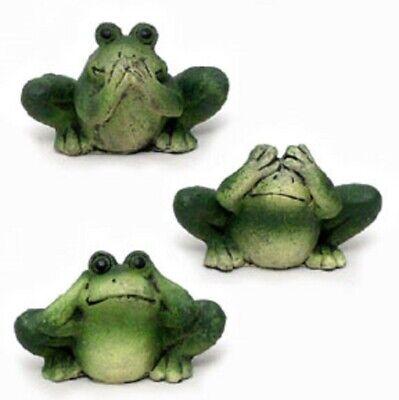See Hear Speak No Evil Green Frogs Amphibian Figurine Home Decor