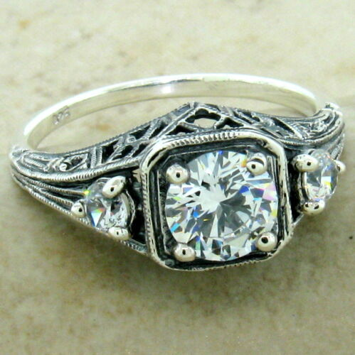 ART DECO 3 STONE RING 925 STERLING SILVER CZ ANTIQUE STYLE SIZE 8,         #1168
