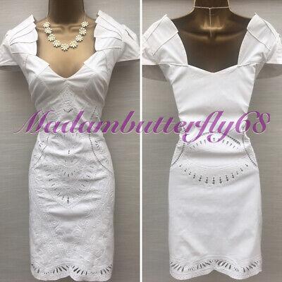 Karen Millen Embroidered Summer White Cotton Casual Day Dress UK 14