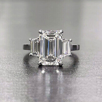 3.10 Tcw Emerald Cut with Trapezoid 3 Stone Diamond Engagement Ring  I VS1 GIA
